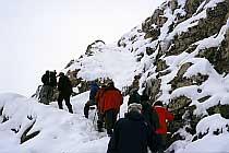 Letzter Anstieg, vorbei an Eiszapfen