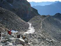 Abstieg auf der Gletschermoräne