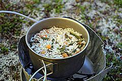 Reis mit Shrimps und Gemüse