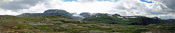 Panorama vom Grønedalen zum Hardangerjøkulen