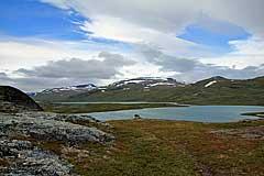 Blick zur Halbinsel zwischen Rádujávri und Alisjávri