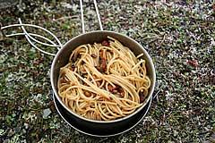 Spaghetti mit Tomaten und Pilzen