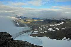 Blick auf den Gletscher Bårddejiegŋa