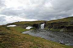 Furt des Rissájåhkå unterhalb des Wasserfalls